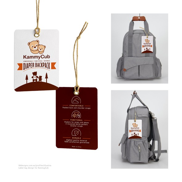 Cute label with the title 'Hanging Tag Design for KammyCub's Diaper Backpack'