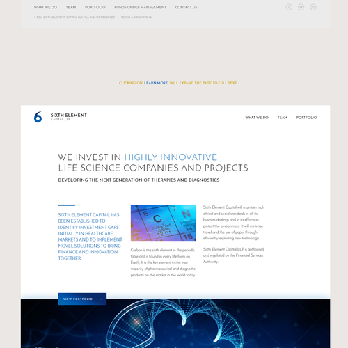 Entrepreneur website with the title 'Expandable homepage for life science investors website'