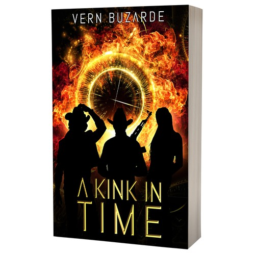 Fire book cover with the title 'Book cover design - A Kink in Time by author Vern Buzarde'