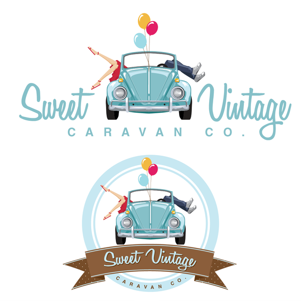 Caravan design with the title 'Sweet Vintage Caravan Co. needs a new logo and business card'