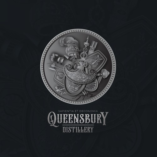 Distillery logo with the title 'Illustrative Seal'