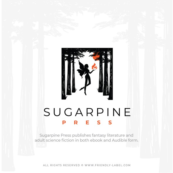 Literature logo with the title 'Logo that inspires mystery, curiosity and imagination for Sugarpine Press'