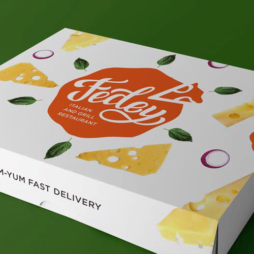 Delivery brand with the title 'Bold logo concept for pizzeria'
