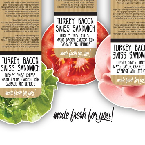 Modern label with the title 'Label for pre packaged sandwiches, wraps & rolls'