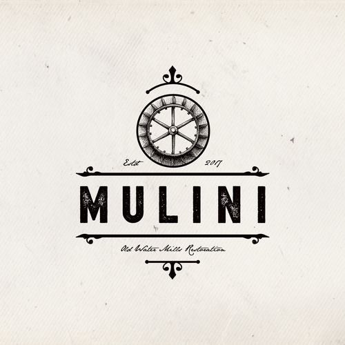 Wood circle logo with the title 'MULINI'