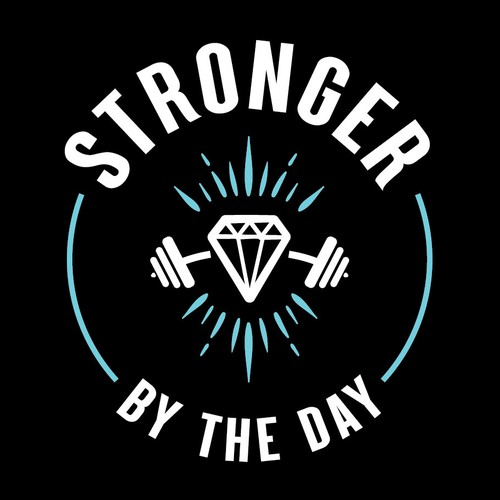 Weightlifting logo with the title 'Stronger By The Day - Logo Concept'