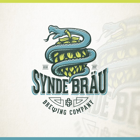 Snake logo with the title 'Creative logo for Synde Bräu - Sin Brew'