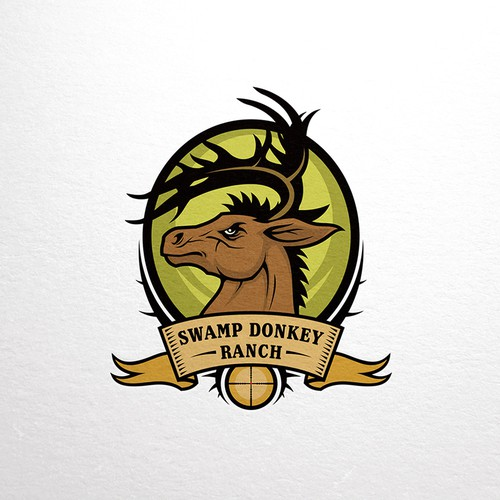 Deer hunting logo with the title 'Horned Donkey Mascot Logo'