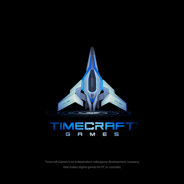 Spaceship logo with the title 'Timecraft Games Logo'