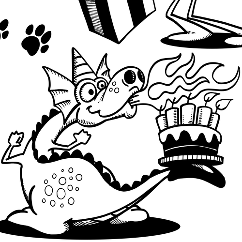 Hand-drawn artwork with the title 'Dog, Flying Pig and Party Dragon'