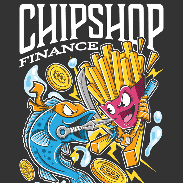Cryptocurrency t-shirt with the title 'Ninja Fish VS Samurai Chips'