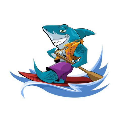 Surfboard design with the title 'Shark Mascot'