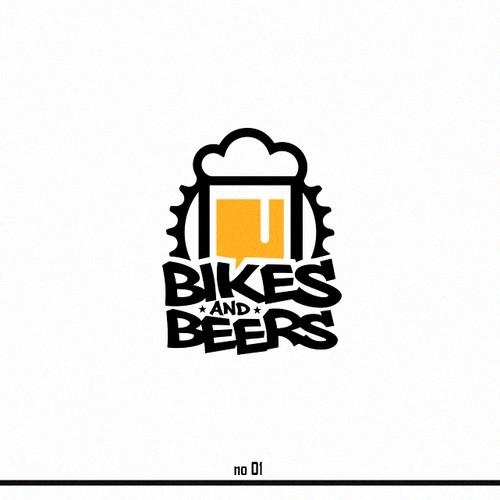 Mountain biking logo with the title 'BIKES&BEERS'