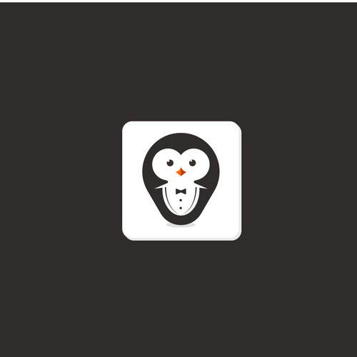 Penguin logo with the title 'Playful design for an App'