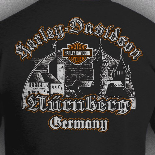 Motorcycle t-shirt with the title 't shir design for Harley Davidson Nürnberg'