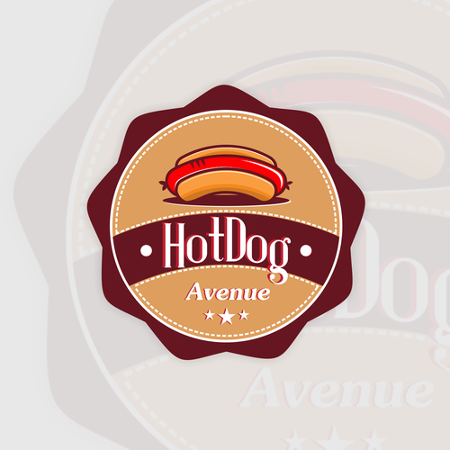 Hot dog logo with the title 'hotdog design'
