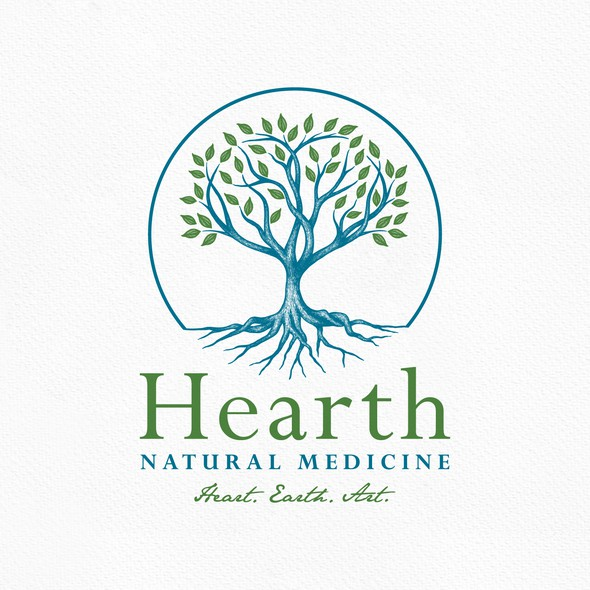 Tree root logo with the title 'Heart Tree Logo'