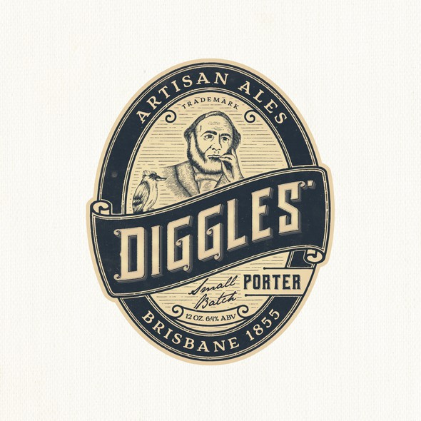 Brewing company logo with the title 'Diggles Artisan ales'