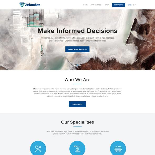 Engineering website with the title 'Zelandez'
