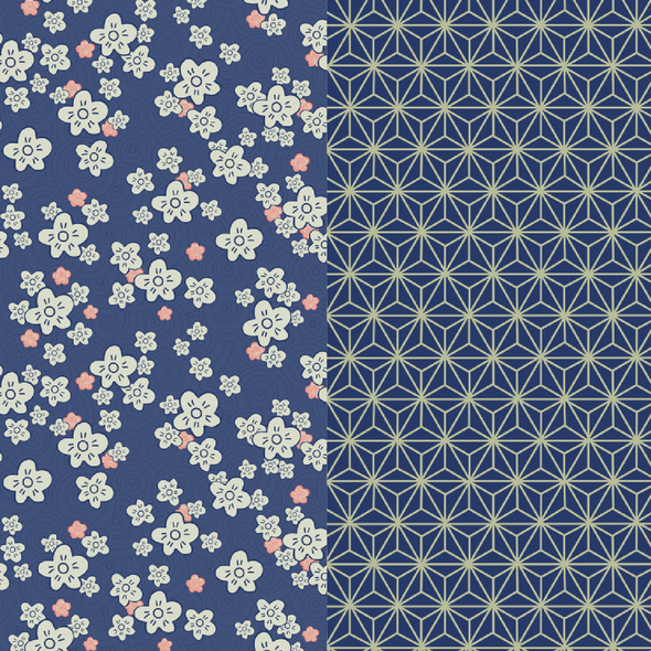 Japanese illustration with the title 'Japanese Inspired Pattern Collection'
