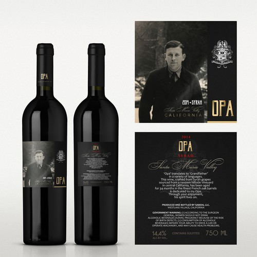 Branding label with the title 'OPA wines, California '