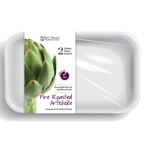 Cooking packaging with the title 'product packaging for Buy Fresh Produce Inc.'