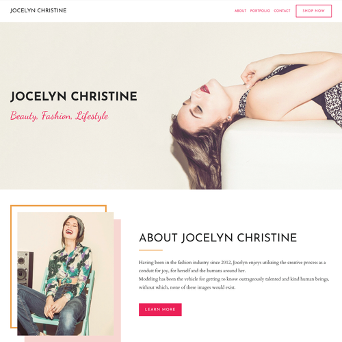 Digital website with the title 'Stunning Portfolio Design for Fashion Model'