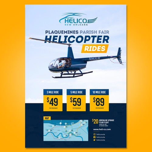 Helicopter design with the title 'Helicopter Rides Poster'