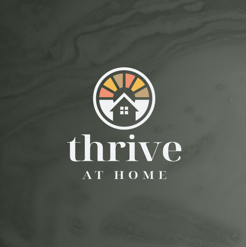 Green home logo with the title 'Thrive At Home'