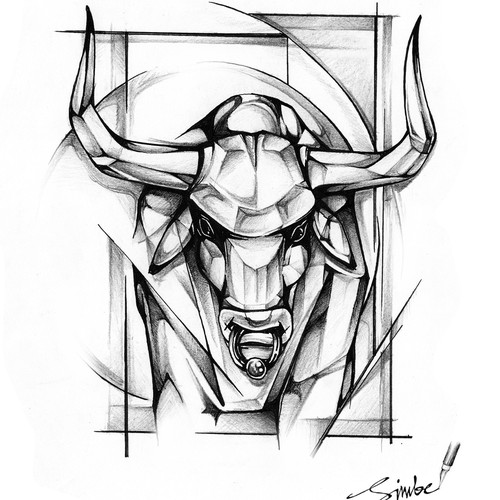 Grayscale design with the title 'Bull Tattoo design'