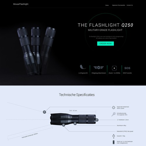 Torch design with the title 'Landing page for Military Grade Flashlight'