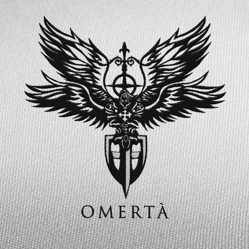 Angel heart logo with the title 'Omertà'
