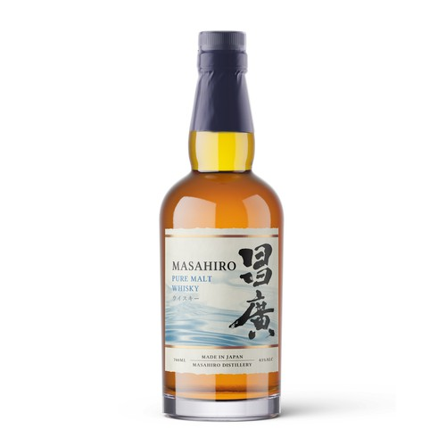 Japanese label with the title 'Label design for a premium japanese whisky'