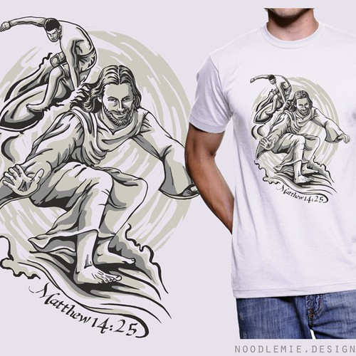 Art t-shirt with the title 'Create a current, hip, t-shirt design with Jesus surfing barefoot.'