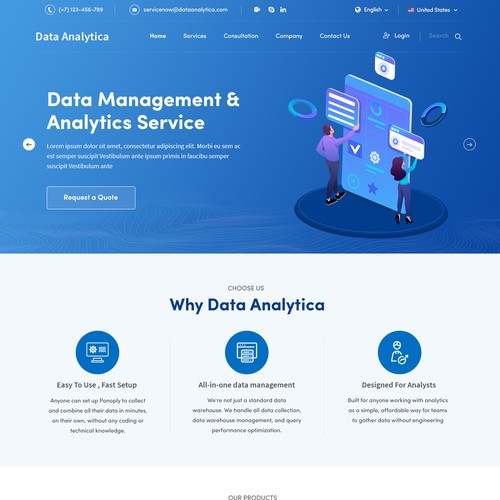 Data website with the title 'Home Page concept for Data Analytica'