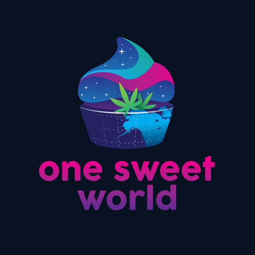 Cupcake logo with the title 'One Sweet World'