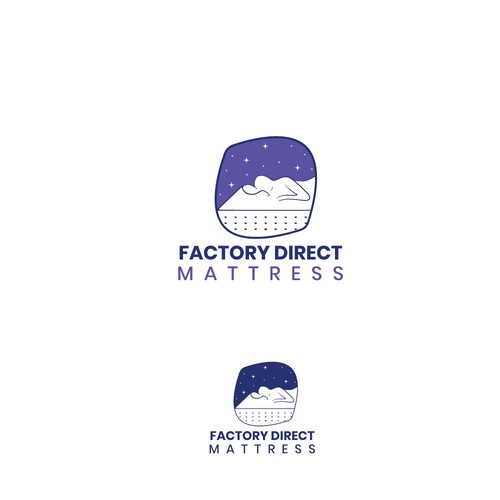 Mattress logo with the title 'Factory direct logo'