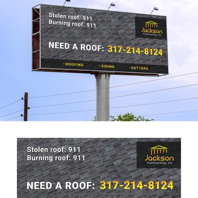 Billboard for a roofing company