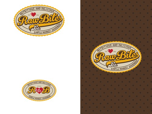 Chocolate design with the title 'Logo for Raw Bites Co..... RETRO STYLE'