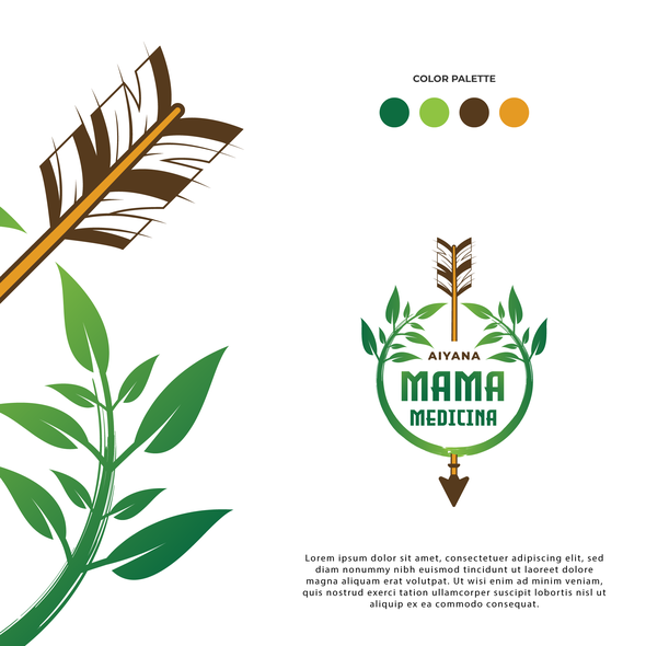 Green and brown design with the title 'Mama Medicina Logo Design'