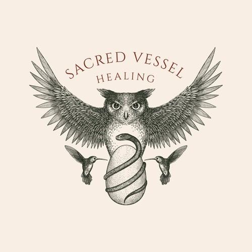 Owl logo with the title 'Sacred Vessel Logo design'