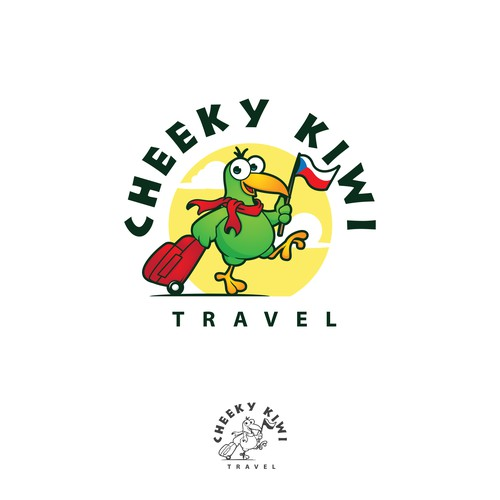 Kiwi design with the title 'logo and character design for cheeky kiwi travel agency'