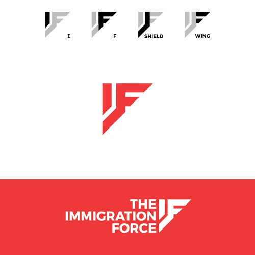 Force design with the title 'Strong logo for an Immigration Law Firm'