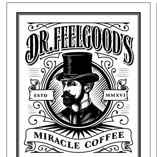 Retro label with the title 'Dr Feelgoods Miracle Coffee Elixer Packaging'