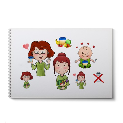 Handmade illustration with the title 'Cute drawings for babies home-made food'
