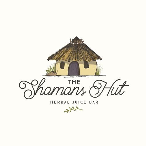 Organic design with the title 'Shamans Hut Juice bar'