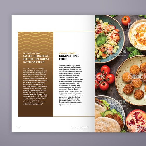 Egyptian design with the title 'Restaurant profile brochure'
