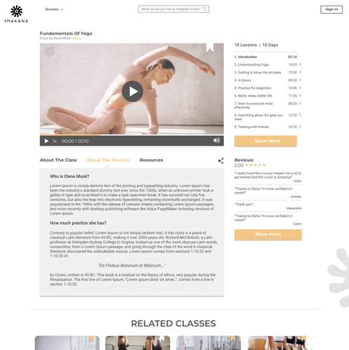 Fitness website with the title 'Webpage Design'