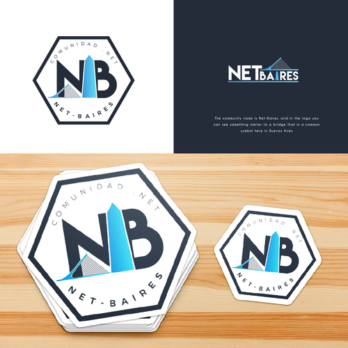 Hexagon design with the title 'Logo NET-BAIRES'
