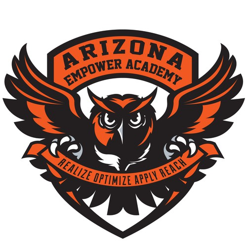 Shield logo with the title 'bold owl school mascot'